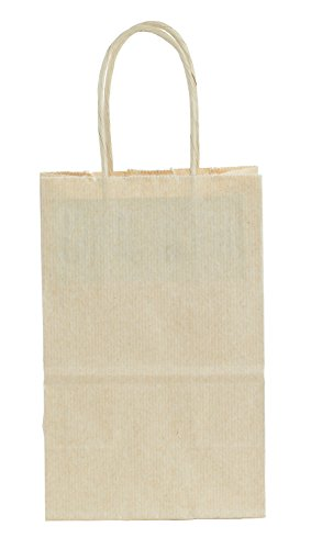 Premier Packaging AMZ-294018 15 Count Pinstripe Shopper Gift Bag, 5.25 by 8.25-Inch, Oatmeal Premier Oatmeal