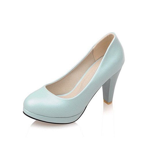 AmoonyFashion Womens PU Solid Pull-on Round Closed Toe High Heels Pumps Shoes Blue