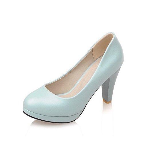 Pu Naisten pumppuihin kengät Kierros Weenfashion Pull Suljettu Toe Sininen Korkokengät Vankka ZqUwnwdE