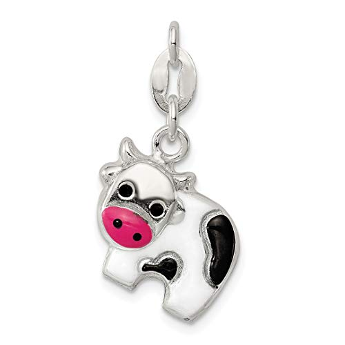 925 Sterling Silver Enameled Cow Pendant Charm Necklace Animal Fine Jewelry For Women Gift - Holder Frames Jewlery Picture
