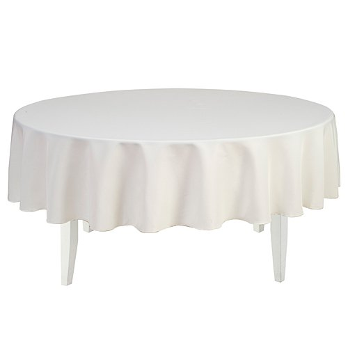 LinenTablecloth 90-Inch Round Polyester Tablecloth Ivory