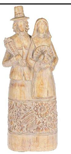 Midwest-CBK Thanksgving Carved Pilgrim Couple (14 5/8