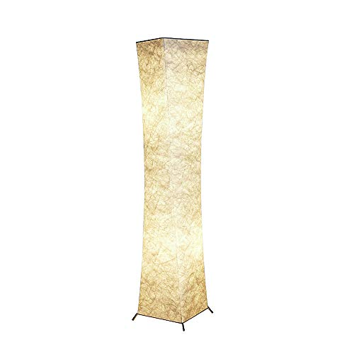 Floor Lamp, CHIPHY Standing Lamps for Living Room, with White Fabric Shade and 2 LED Bulbs, Decorative and Modern Light for Bedroom and Office(10