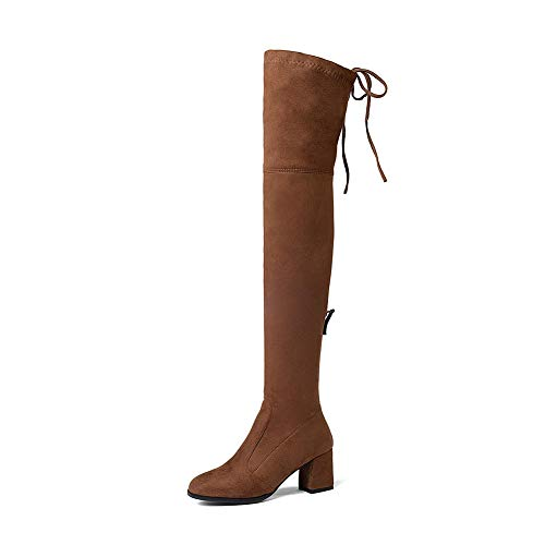 nbsp; Knee De Grande nbsp; Without 34 43 Hoesczs Up Zapato Tamaño Fur Botas Invierno nbsp;zip Mujer Piel The Boots Marca Camel Zapatos Over Agregar BwUPxWXnW