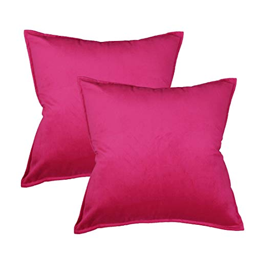 sykting Square Throw Pillow Covers Soft Velvet Outdoor Cushion Covers Decorative for Sofa Bed Chair 18 x 18 Pack of 2 Hot Pink (Hot Cushion Covers Pink)