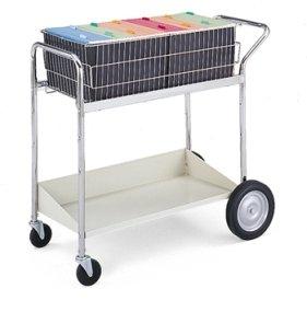 Charnstrom Medium Wire Basket Cart with Gray Lower Shelf (B171) by Charnstrom