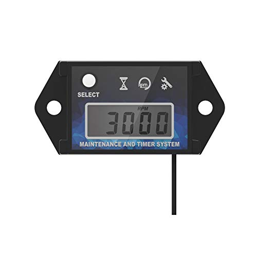 Runleader HM026C Self Powered Engine Digital Maintenance Tachometer Hour Meter for Lawn Mower Generator Dirtbike Motorcycle Outboard Marine Paramotors Snowmobile and Chainsaws(BLUE) ()