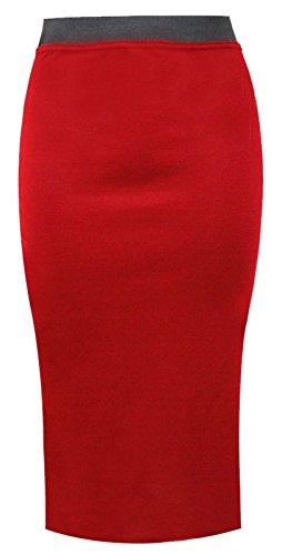 mi fuseau pour Jupe Clothing habill Outofgas femmes bureau Rouge long wqvE0OfxtF