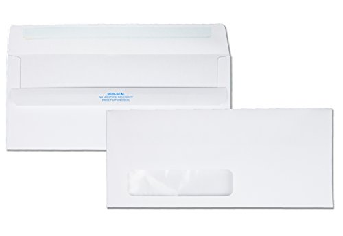 Quality Park #10 Redi-Seal Left-Window Envelopes, White, Box of 500 (21318)