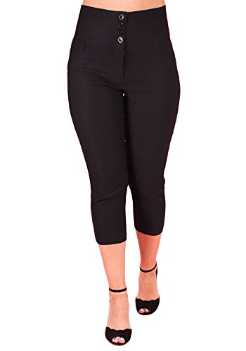 Sidecca Classic High Waist 3 Pocket Capri Pant (Small, 4 Button Black) ()