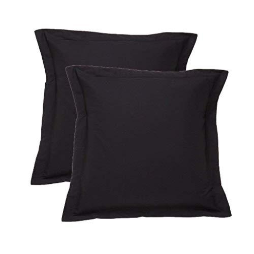 A-home European Square Pillow Shams Set of 2 Pillowcase Euro Shams 26x26 Black Pillow Covers 2 Pack, European 26 x 26 Black Solid 500 Thread Count 100% Egyptian Cotton