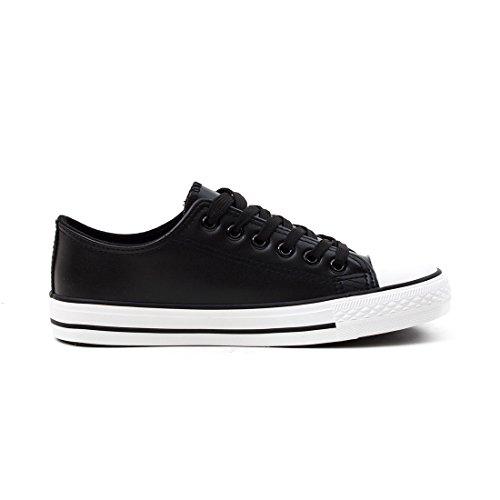 Trendige Unisex Damen Kinder Herren Schnür Sneaker Low Top Schuhe Canvas Textil Schwarz Lederoptik