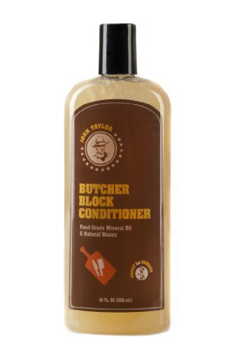 John Taylor Butcher Block Conditioner Food Grade Mineral Oil and Natural Waxes, 12 fl.oz(355ml) (Linseed Oil And White Spirit On Slate)