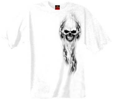 Hot Leathers GMD1080 White, XL Ghost Skull 100% Cotton Double Sided Printed Biker T-Shirt