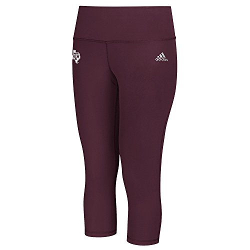 adidas NCAA Texas A&M Aggies Logo Performer Climalite Mid Rise 3/4 Tight Pants, X-Large, Maroon ()