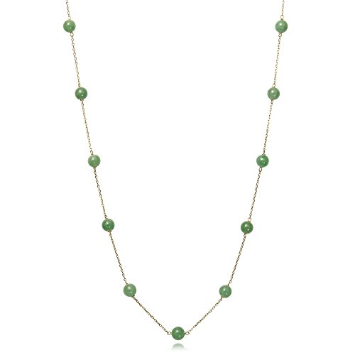 Jade Station - 10k Yellow Gold Natural Jade Station Chain Necklace, 18