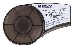 100 Data Cartridge Label - Brady M21-375-430-WT-CL Cartridge, B430 Clear Polyester Material, 0.375
