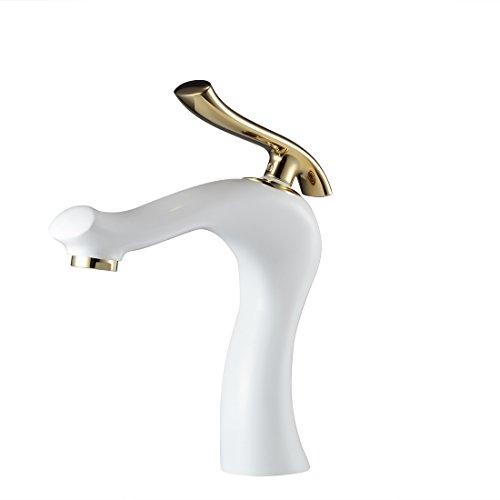 (HeMu Waterfall Single Handle Bathroom Sink Faucet One Hole Deck Mount Oil Rubbed Bronze Lavatory,Chrome Finish (White) )