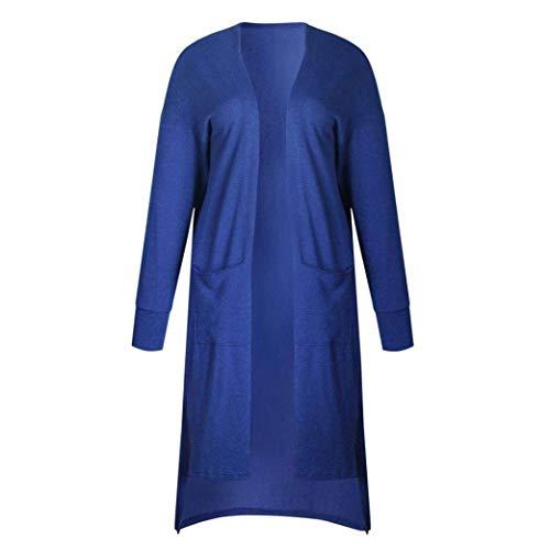 A Autunno Maglioni Moda Casual Maglia Donna Irregular Tasche Monocromo Anteriori Manica Giacca Giorno Lunghi Giubotto Giovane Lunga Blau Abbigliamento Maglie qwRwA5Y