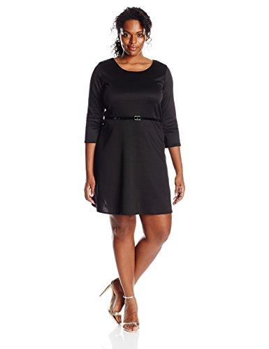 Solid Ponte Dress - Star Vixen Women's Plus-Size 3/4 Sleeve Solid Ponte Skater Dress With Belt, Black, 1X