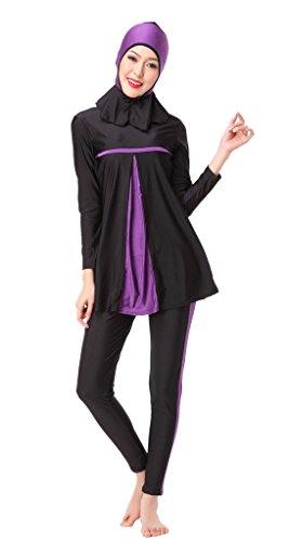 Feicuan Mujer Three Pieces Set Muslim Conservative Hijab Bañadors -603 Purple