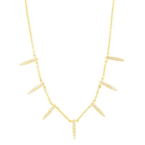 - Beauniq Yellow Gold Tone Sterling Silver Cubic Zirconia Spike Necklace, 15 Inches-17 Inches