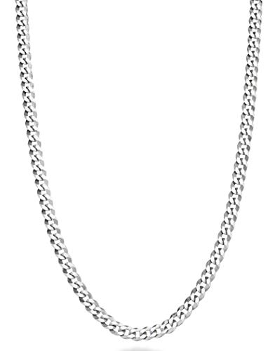 MiaBella Solid 925 Sterling Silver Italian 3.5mm Diamond Cut Cuban Link Curb Chain Necklace for Women Men, 16