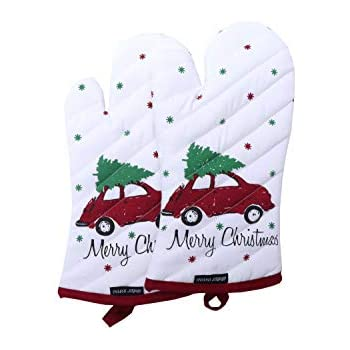 Amour Infini Set of 2 Oven Mitts, Unique MerryChristmas Design, Natural Cotton Oven Mitts Heat Resistant,Oven Mitt size 7 x 13 Inches