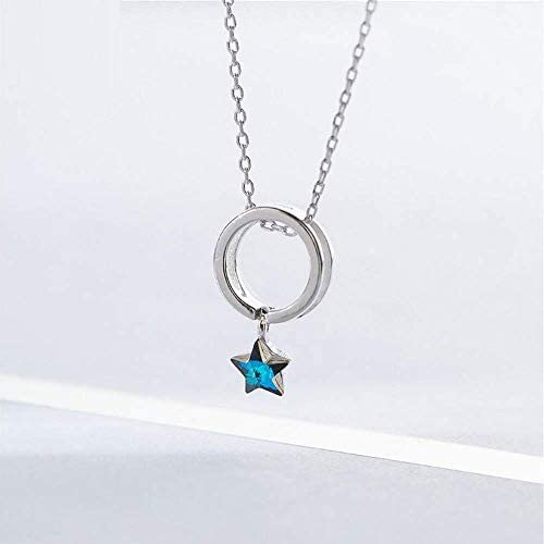 Silber-Halskette 925 Sterling Silber blauer Kristall Stern Halskette Damen Kreis Modeschmuck einfache Halskette und Anhänger Party