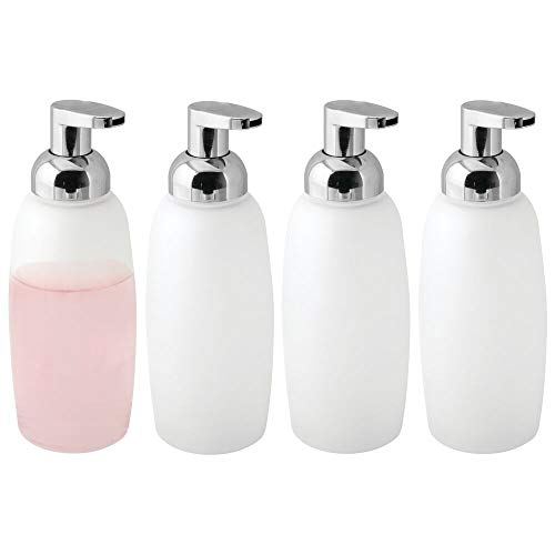 mDesign Modern Glass Refillable Foaming Soap Dispenser Pump Bottle for Bathroom Vanity Countertop, Kitchen Sink - Save on Soap - Vintage-Inspired, Compact Design - 4 Pack - Clear Frost/Chrome