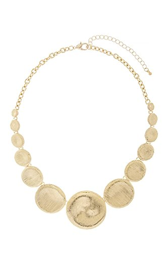 BAUBLES & CO GRADUATED TEXTURED DISK NECKLACE (Gold) (Graduated Turquoise Disc)