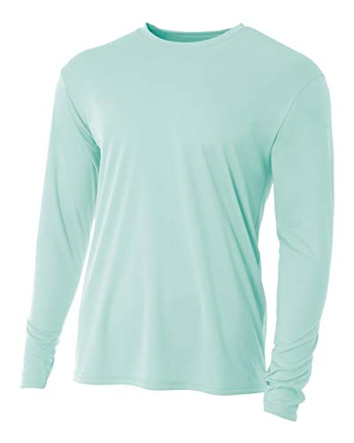 A4 Men's Cooling Performance Long Sleeve Crew, Pastel Mint, Small ()