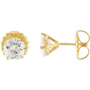 2.50 Cttw Charles and Clovard 14k Yellow Gold Moissanite Solitaire Stud Earrings by The Men's Jewelry Store
