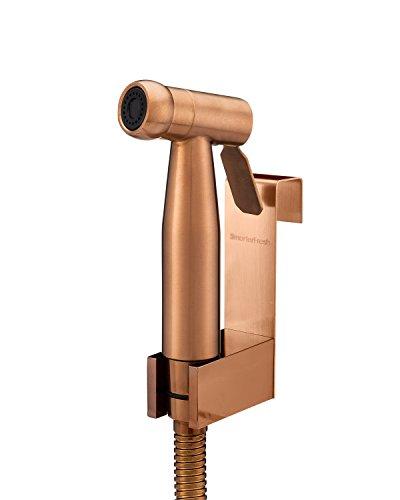 SmarterFresh Hand Held Satin Rose Gold Bidet Sprayer, Premium Stainless Steel Diaper Sprayer Shattaf - Complete Bidet Set for Beday - Gold Rose Rims