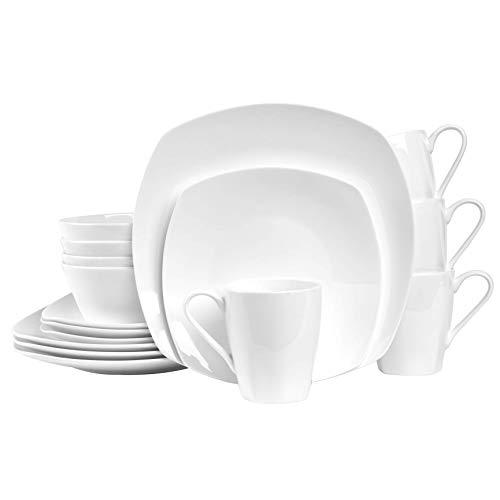 Stone Lain Gabrielle Bone China Dinnerware Set, 32 Piece Service for 8, White Square