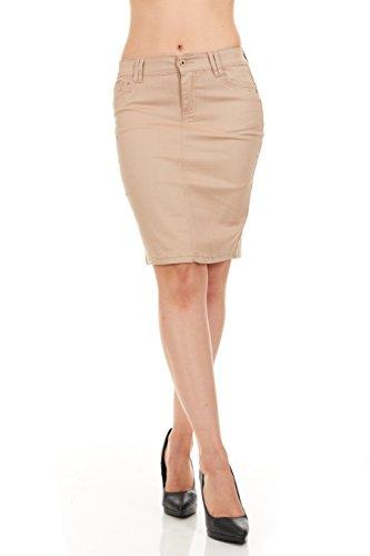 FGR Girl's Stertchy Cotton 5 Pocket Color Denim Skirt Khaki Size 12 by FGR (Image #1)