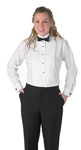 Deluxe Long Sleeve Shirt - Premium Women's Tuxedo Long Sleeve Shirt Wing-Tip Collar, with Bonus Black Bow Tie - Size 4