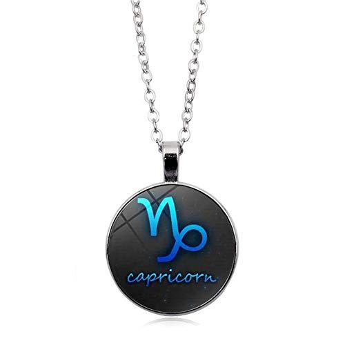 JczR.Y Luminous Glow Time Gemstone Necklace Pendant 12 Constellation Necklace for Women(Capricorn)