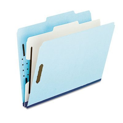 Pressboard Classification Folder, 2/5 Tab, Letter, Four-Section, Blue, 10/Box, Sold as 1 Box by Esselte Products