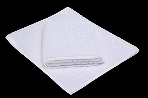 - SALBAKOS Greek Key Bath Mat - White - Luxury Hotel Spa Quality - 100% Turkish Cotton - 22