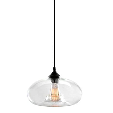 Kitchen Pendant Light   Clear Glass Shade Industrial Hanging Lamp, UL  Listed, Dimmable   Edison Style ST18 Bulb Included     Amazon.com