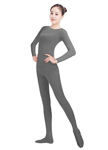 50's 60's Dance Costumes (Ensnovo Womens Lycra Spandex One Piece Unitard Full Bodysuit Zentai Suit Costume DGray M)
