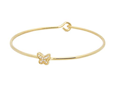Fronay Co .925 Sterling Silver Thin CZ Butterfly Bangle Bracelet Dipped in Gold from Fronay Collection