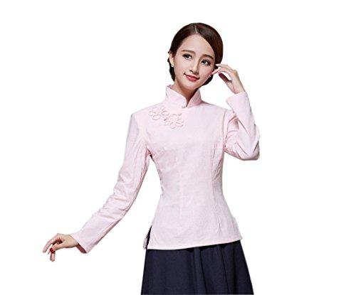 Femme Devant Longue de Chinoise Blouse Fleur Manche Chemise Couleurs Style Tang Plusieurs Claire ACVIP Veste pour Rose Rtro gFx4cO