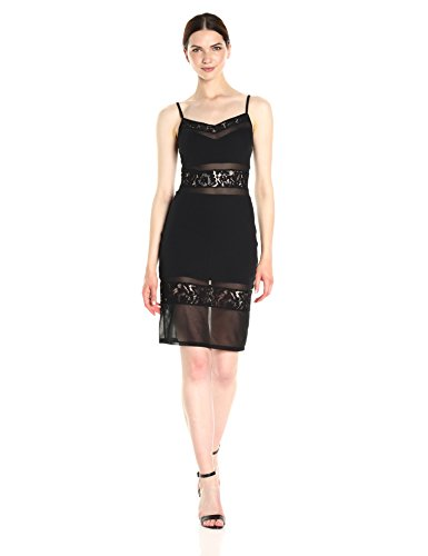 French Connection Women's Lucky Layer Dress, Black, 4 by French Connection