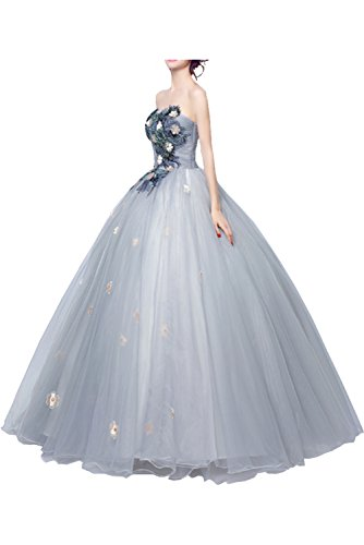 Victory Bridal Huebsch Blumen Traegerlos Abendkleider Ballkleider Promkleider Hochzeitskleider Prinzessin Bodenlang