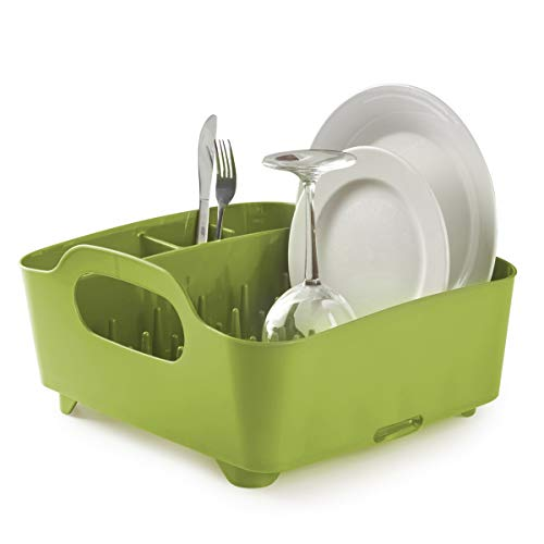 Umbra Tub Dish Drying Rack - Lightweight Self-Draining Dish Rack for Kitchen Sink and Counter at Home, RV or Motorhome, Avocado