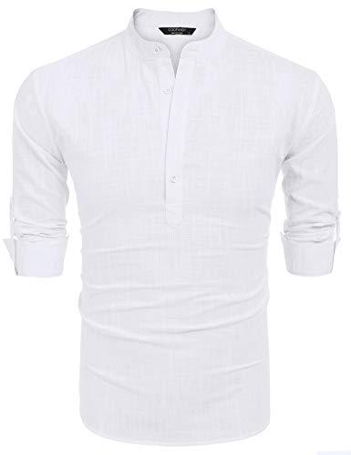 COOFANDY Men's Cotton Linen Henley Shirt Long Sleeve Hippie Casual Beach T Shirts (XXL, White1)