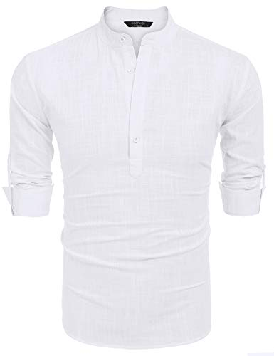 COOFANDY Men Premium Henley Neck Linen Shirts Casual Long Sleeve Basic Shirts,White,X-Large