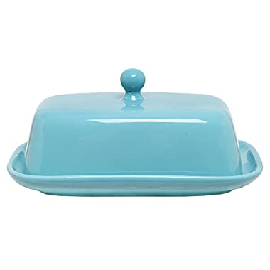 MyGift Home Decorative Ceramic Butter Dish with Lid Cover - Turqoise Blue